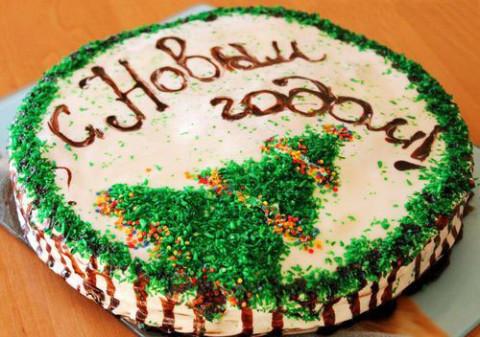 Украшение торта на новый год фото