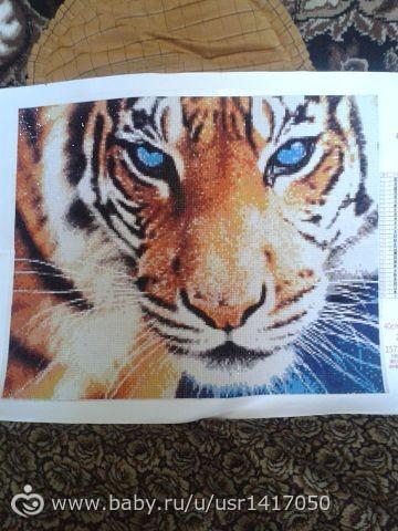 Готовая алмазная вышивка тигр
