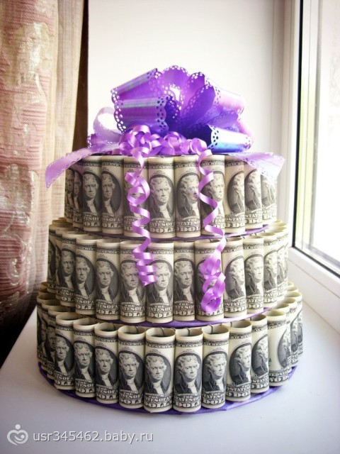 Денежный торт на свадьбу фото