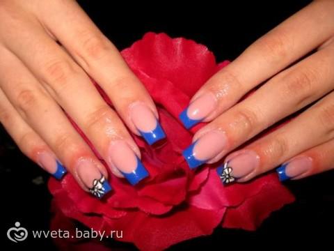 Синий френч дизайн ногтей