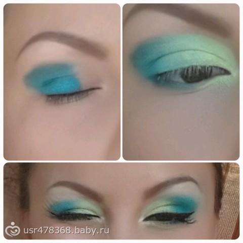 салатово-голубые тени