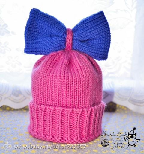 Детская шапочка с бантиком вязание 18
