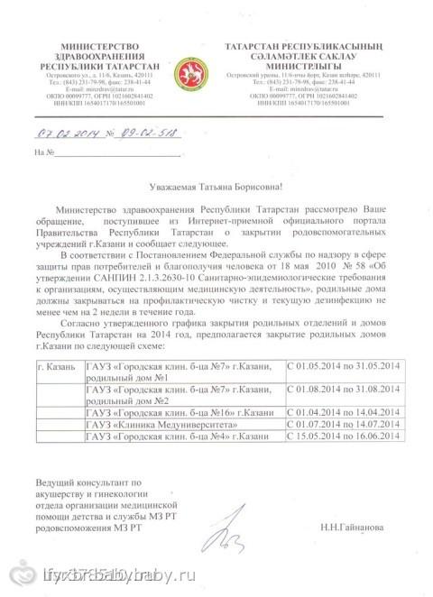 График закрытия роддомов КАЗАНЬ! - на ...: www.baby.ru/blogs/post/252471486-100161586