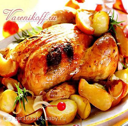 Курица с яблоком в духовке целиком рецепт с фото пошагово в