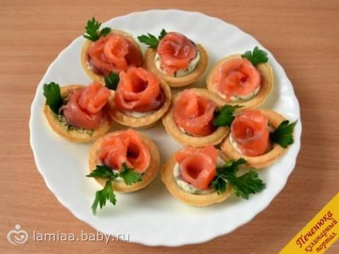 Тарталетки с красной рыбой и сыром рецепты