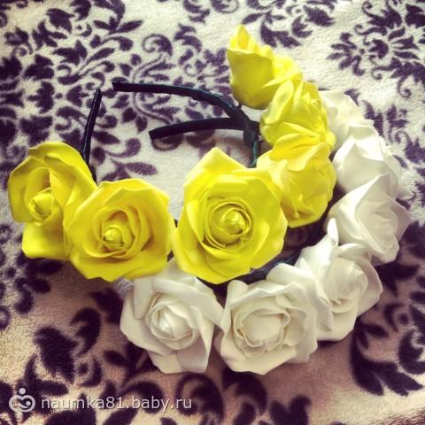 Как сделать цветок из атласных лент для ободка