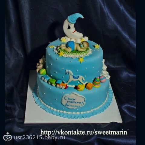 Двухъярусный торт на годик мальчику фото