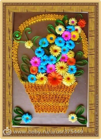 Панно корзина с цветами