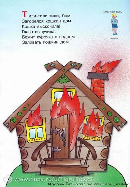 Кошкин дом рисунок пожар