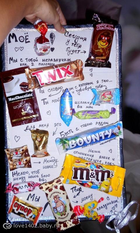 Подарок папе на день рождения из шоколадок 85
