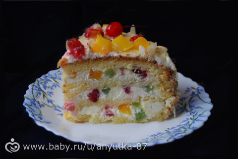 бисквитный фруктовый торт с фото