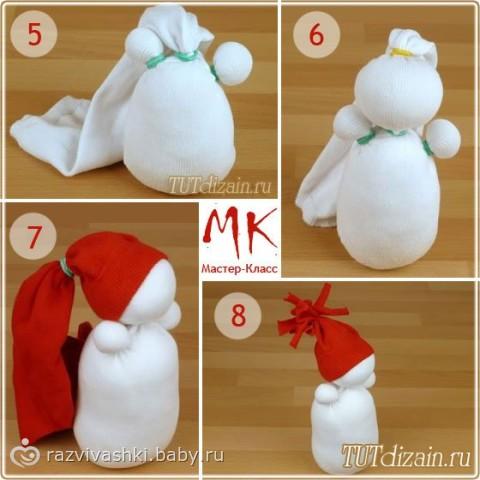 Как сделать новогоднюю игрушку  из носка снеговика