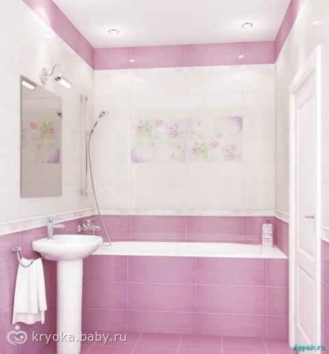 Плитка в ванную комнату розовая с цветами 196