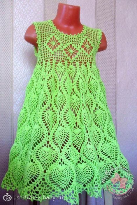 Платье крючком для девочки схема ананасы