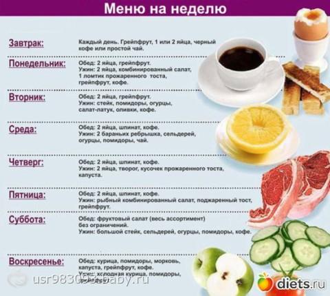 правильное питание минус 60