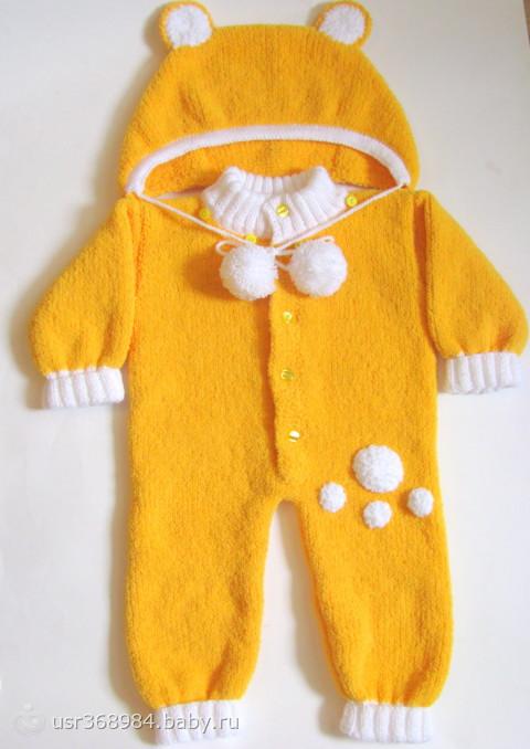 одежда плюшевый комбинезон для малышей спицами есть