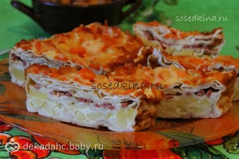 Пирог из лаваша с картофелем и сыром