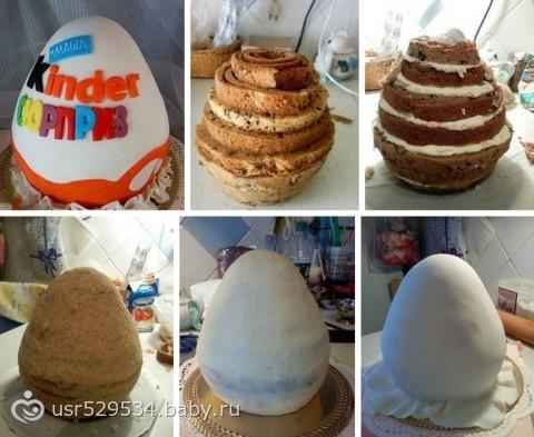 Торт в виде киндера сюрприза